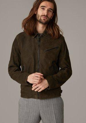 METEOR - Leather jacket - dunkelgrün