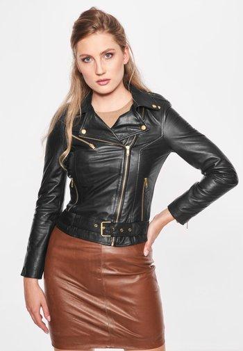 EMMA - Leather jacket - black