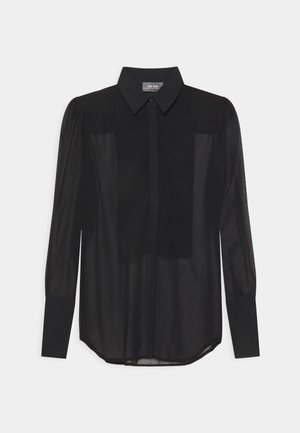 LUCKY SHEER - Button-down blouse - black