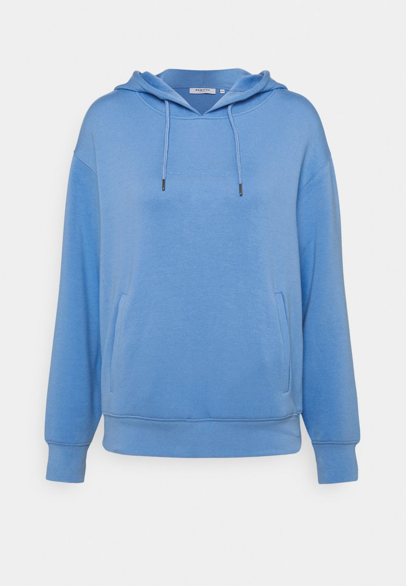 Moss Copenhagen - LOGO HOOD  - Long sleeved top - lake blue