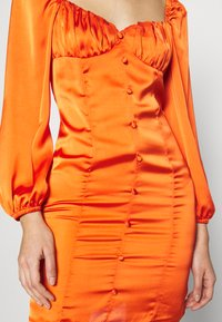 Glamorous - CARE BUTTON THROUGH MINI DRESS WITH PUFF LONG SLEEVES AND SWEETH - Cocktail dress / Party dress - rust - 6