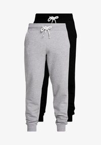 Pier One - 2 PACK - Tracksuit bottoms - black/mottled light gre - 3