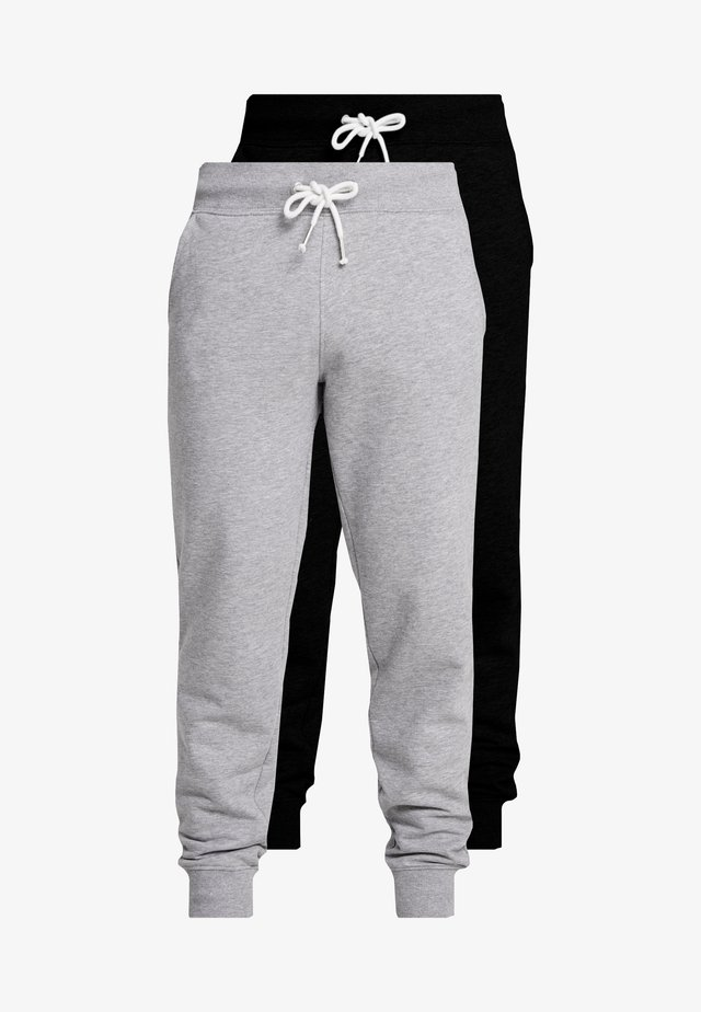 2 PACK - Tracksuit bottoms - black/mottled light gre