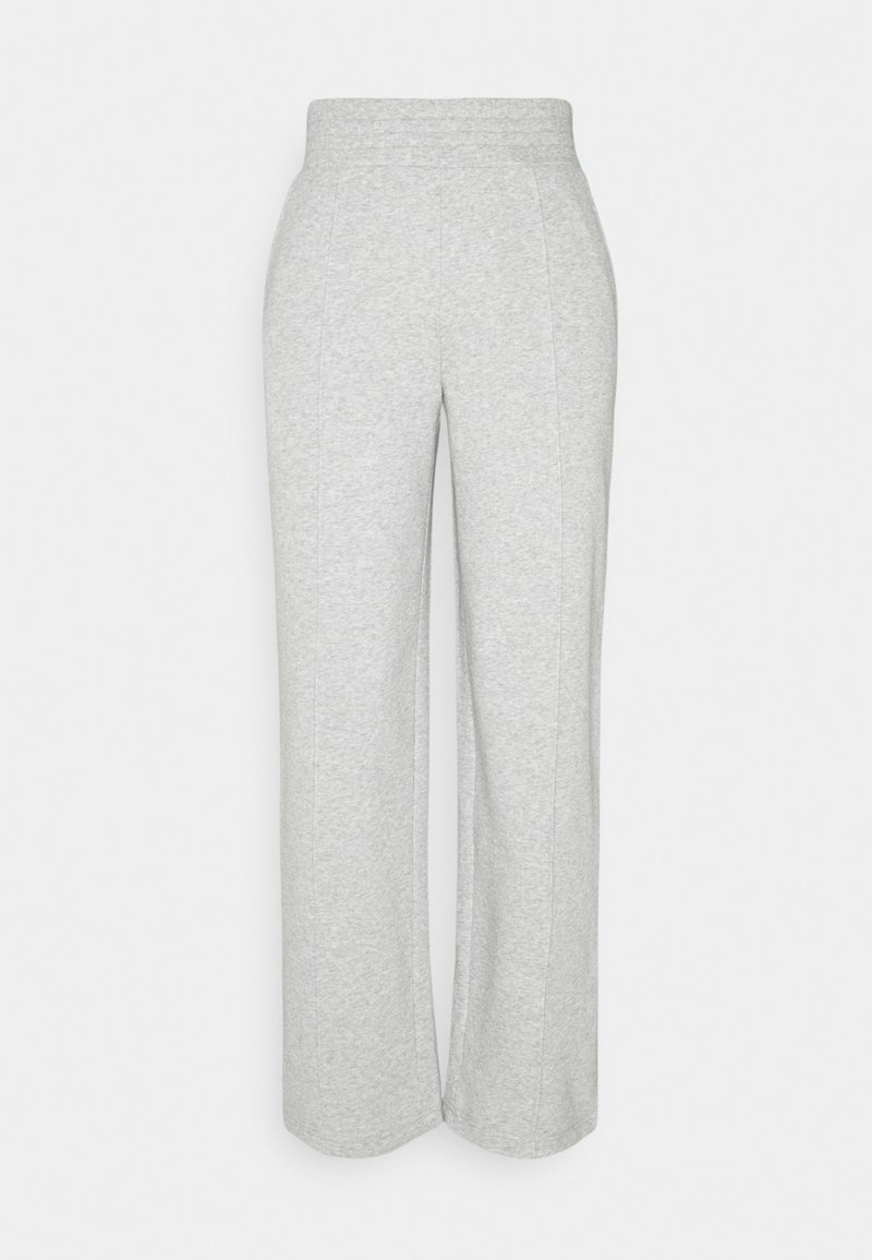 Pieces - PCCHILLI WIDE PANTS - Tracksuit bottoms - light grey melange
