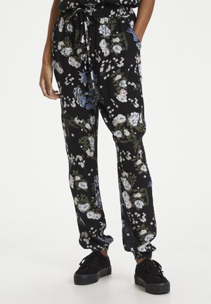 Tracksuit bottoms - black multi color flower print