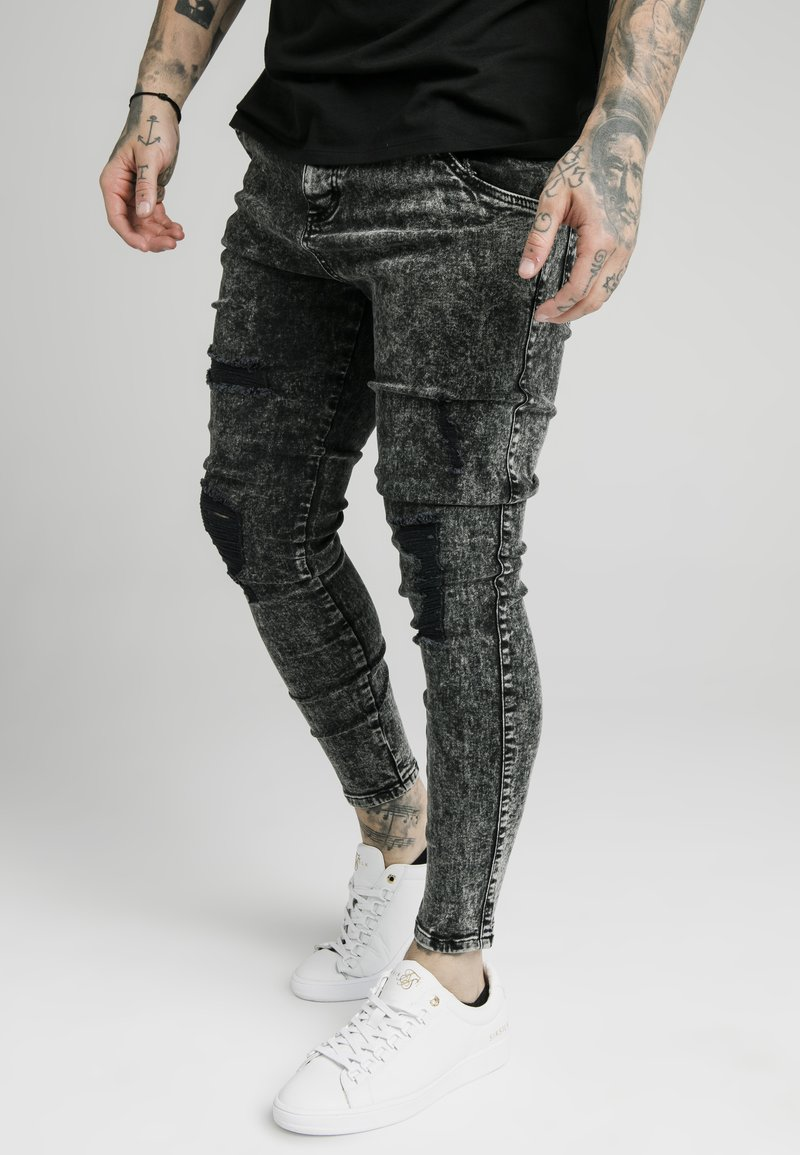 SIKSILK - SKINNY FIT ACID WASH WITH DISTRESSING - Jeans Skinny Fit - black
