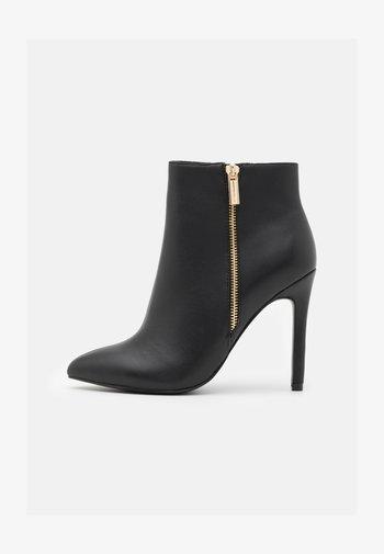 LEATHER - Kotníková obuv na vysokém podpatku - black