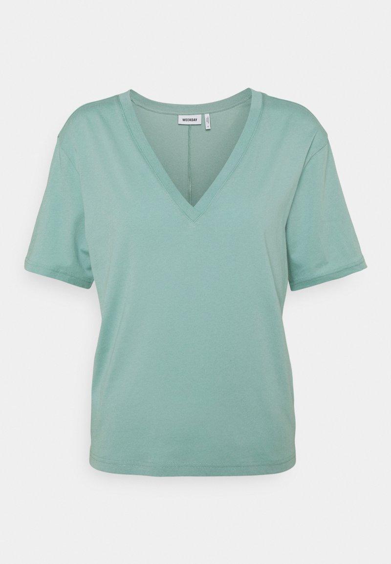Weekday - LAST V NECK - T-shirt basic - greyish green