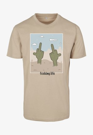 LIFE TEE - Print T-shirt - sand