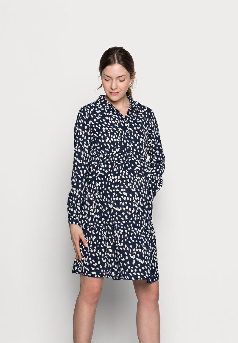 MAMALICIOUS - MLGLOMMA SHIRT DRESS - Shirt dress - navy blazer/snow white