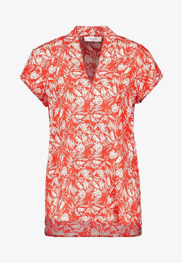 T-shirt print - rot/orange/ecru/weiss druck