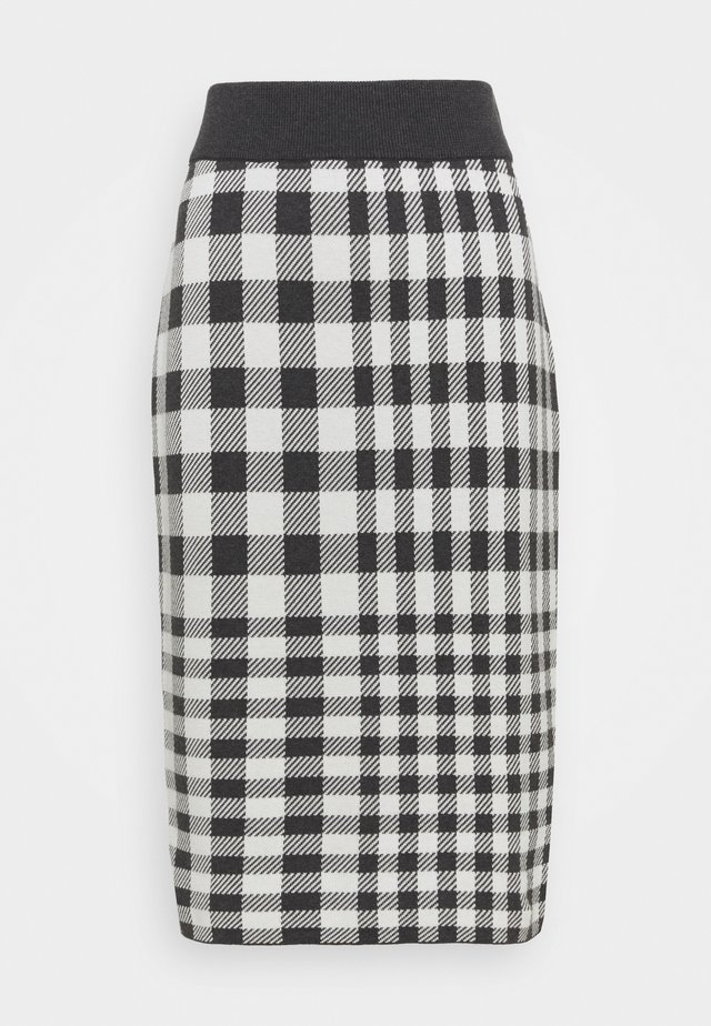 CHECKED SKIRT - Falda de tubo - antracit melange