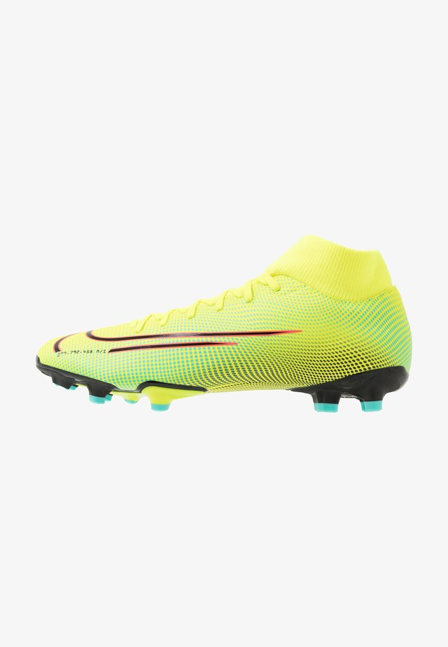 MERCURIAL 7 ACADEMY MDS FG/MG - Moulded stud football boots - lemon/black/aurora green