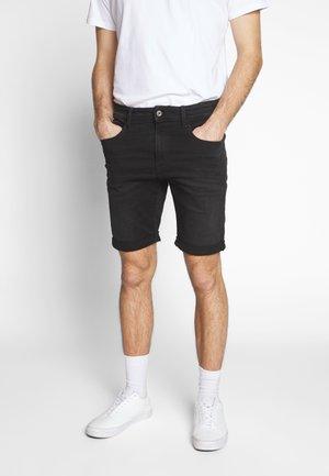 3301 SLIM  - Denim shorts - elto nero black/worn in meteor