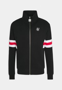 SIKSILK - ZIP THROUGH FUNNEL NECK - Felpa aperta - black/white/red - 3
