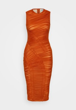 ASYMMETRIC DRAPED DRESS - Sukienka koktajlowa - cognac