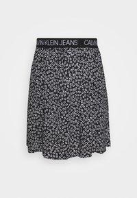 FLORAL SKIRT WITH LOGO TAPE - A-line skirt - black/white