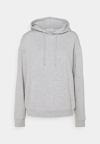 BASIC - Oversized hoodie with pocket - Sweat à capuche - mottled light grey