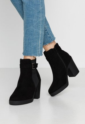 AGGY CHUNKY BUCKLE  - High heeled ankle boots - black