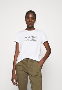 Banana Republic - PALM GRAPHIC TEE - Print T-shirt - white - 0