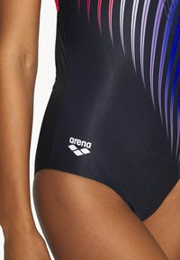 Arena - OPTICAL WAVES SWIM PRO BACK ONE PIECE - Swimsuit - black/fluo red - 4