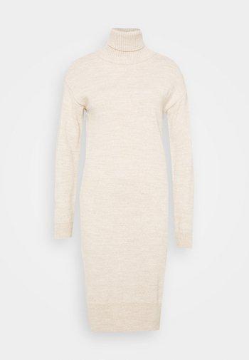 COSY ROLL NECK DRESS - Sukienka dzianinowa - oatmeal