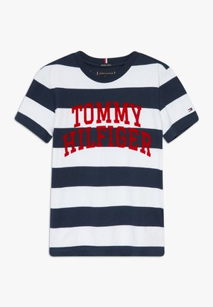 RUGBY STRIPE GRAPHIC TEE - T-Shirt print - blue