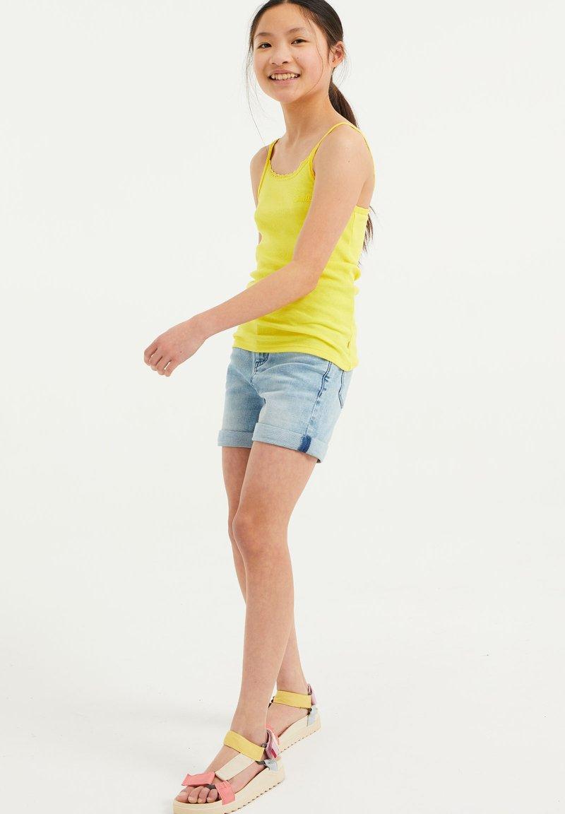 WE Fashion - MIT SPITZE - Top - bright yellow