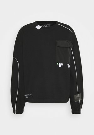 LABEL DETAIL CREW NECK - Sweatshirt - black