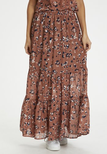 LOPIA - Maxi skirt - russet, creme, chalk animal
