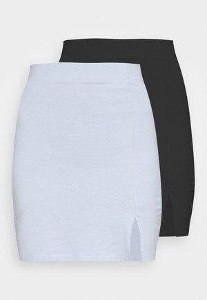 2er PACK - Mini skirts basic with slits - Kokerrok - black/light blue