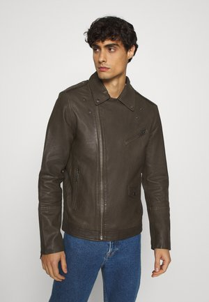 SLHRON BIKER - Leather jacket - wren