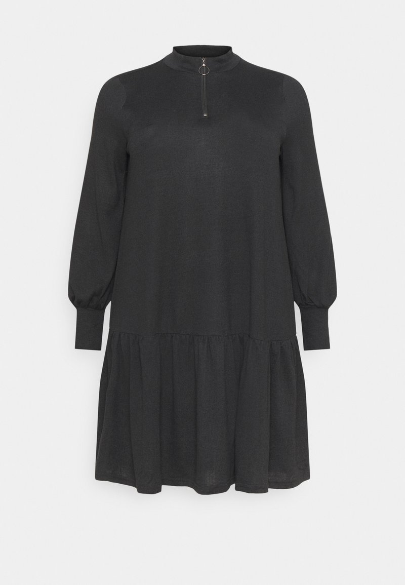 ONLY Carmakoma - CARPIXI ZIP TUNIC DRESS - Jumper dress - black