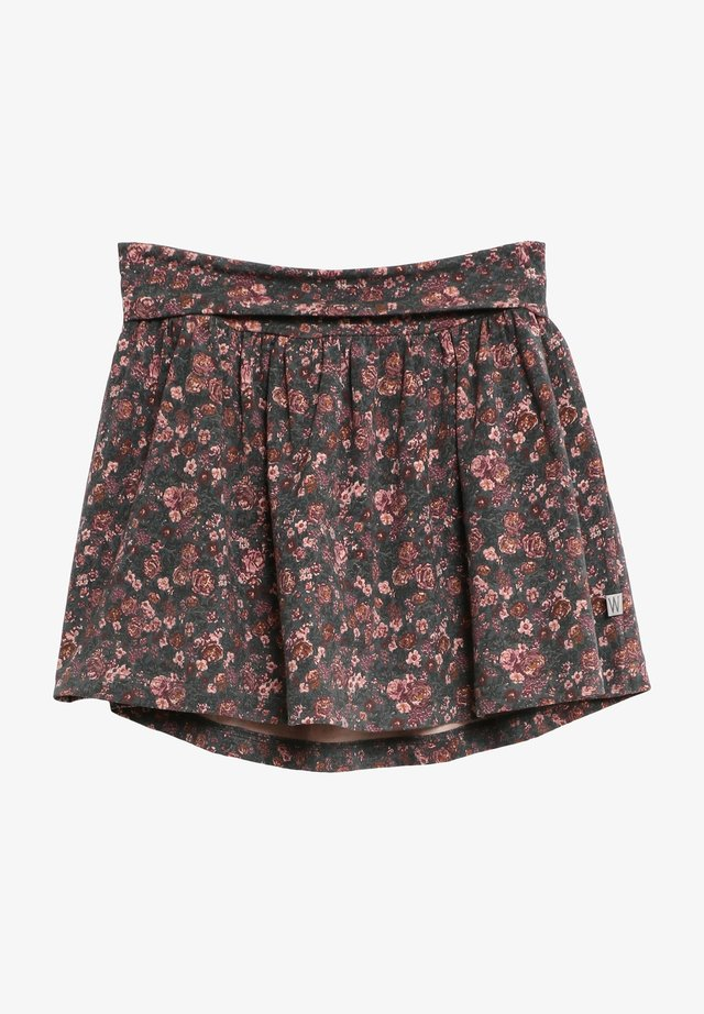 A-line skirt - petroleum flowers