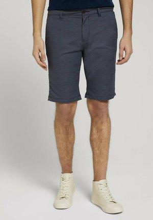 Shorts - navy twill check yarn dye