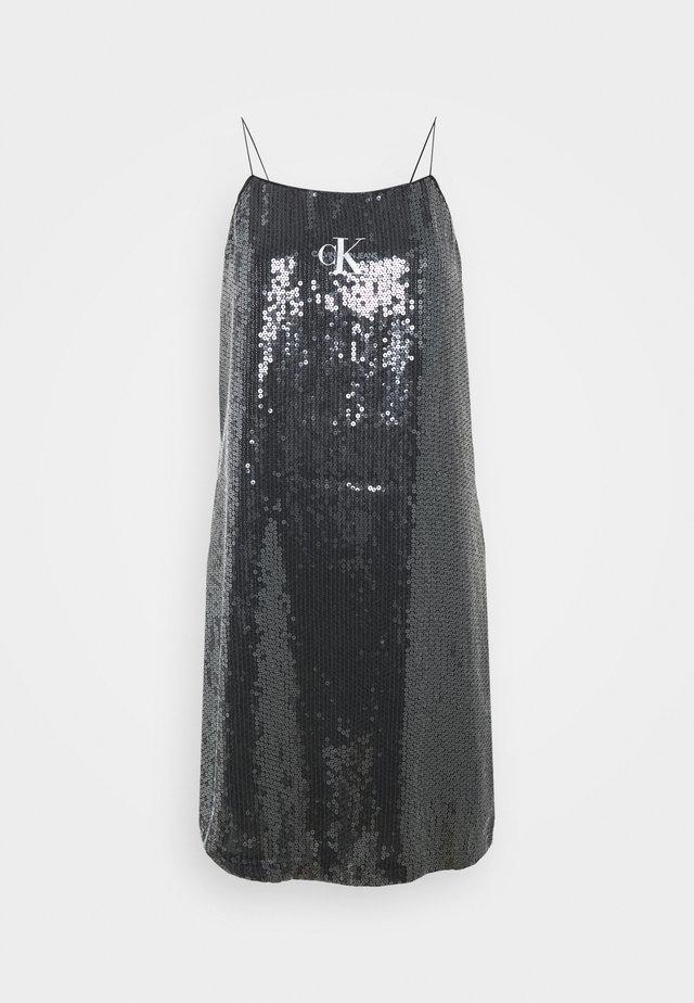 SEQUIN LOGO STRAP DRESS - Day dress - black