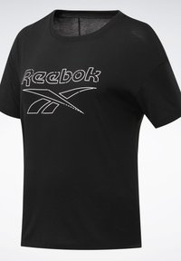Reebok - WORKOUT READY SUPREMIUM SLIM FIT BIG LOGO - T-shirt print - black - 7