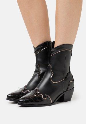 ONLTOBIO CONTRAST BOOT  - Cowboy/biker ankle boot - black