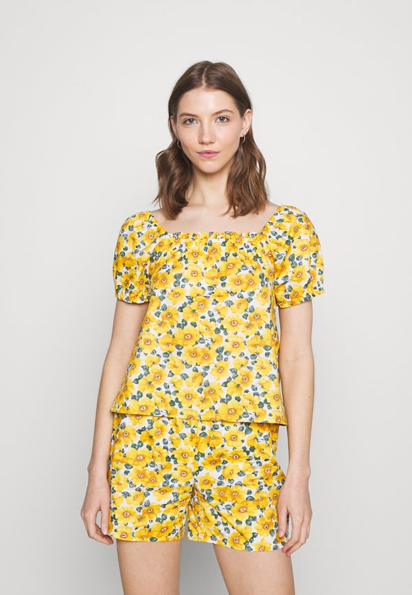 Vila VIMESTI - T-shirt z nadrukiem - sunshine/mleczny HGKF