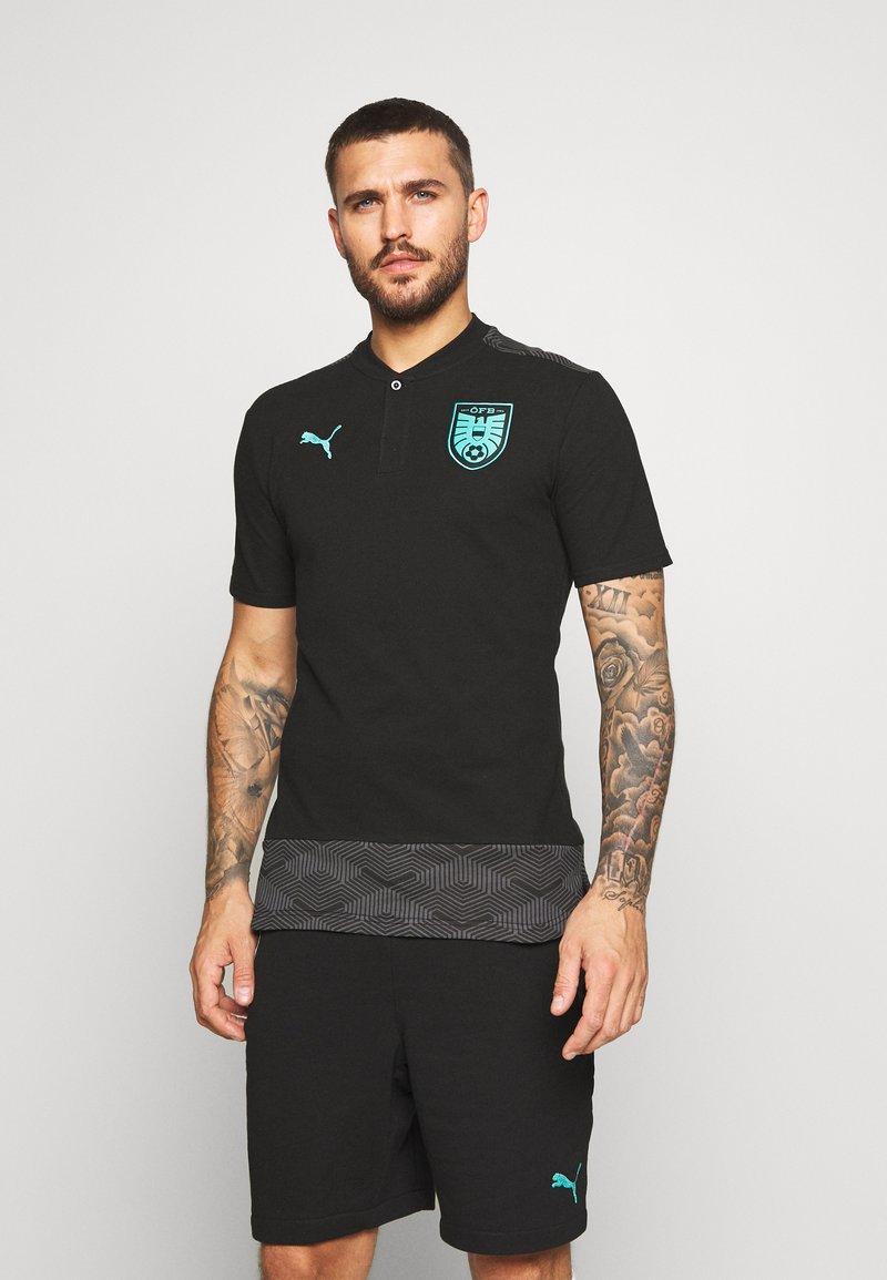 Puma - ÖSTERREICH ÖFB CASUAL - Polo shirt - black/blue turquoise