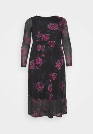FLORAL TIERED DRESS - Day dress - black