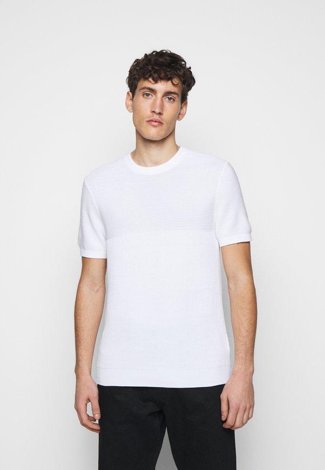 BLOCK STITCH CREW - T-shirt med print - blanc de blanc