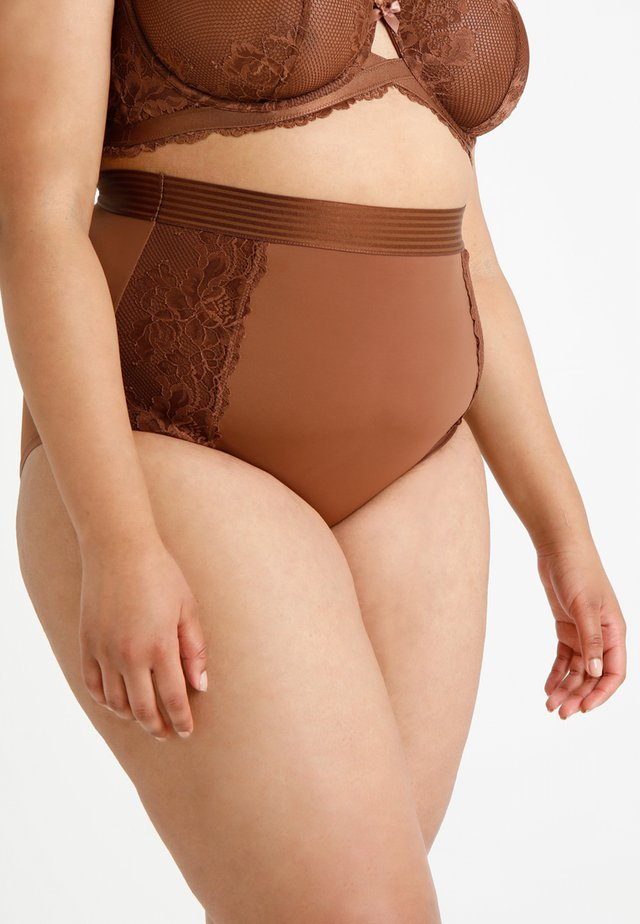 PLUS HIGH WAIST BRIEF - Briefs - mahogany