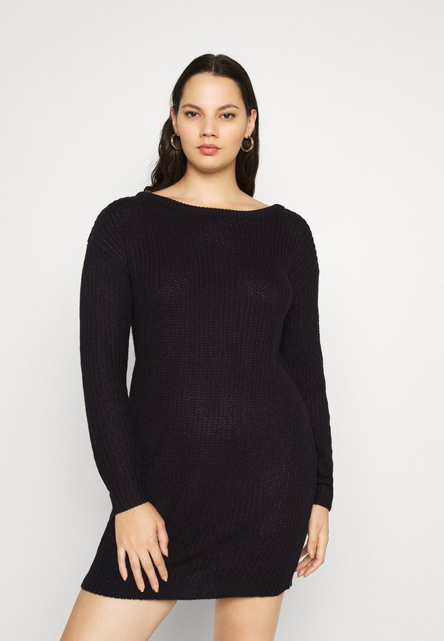 PLUS OFF SHOULDER JUMPER DRESS - Jumper dress - black