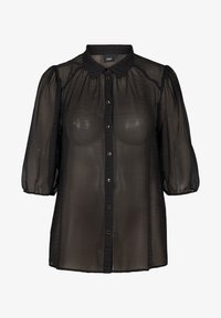 Zizzi - WITH 3/4 LENGTH PUFF SLEEVES - Button-down blouse - black - 3