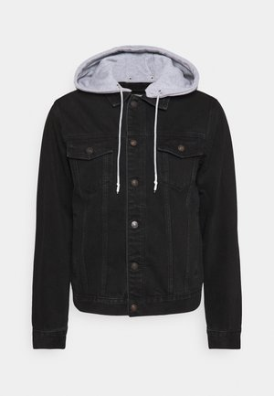 JACKET WITH DETACHABLE HOOD - Kurtka jeansowa - black