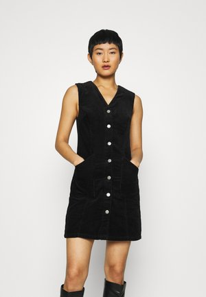 BUTTON DOWN V NECK PINNY - Day dress - black