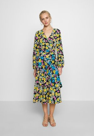 SUNFLOWER TIER WRAP DRESS - Vardagsklänning - black