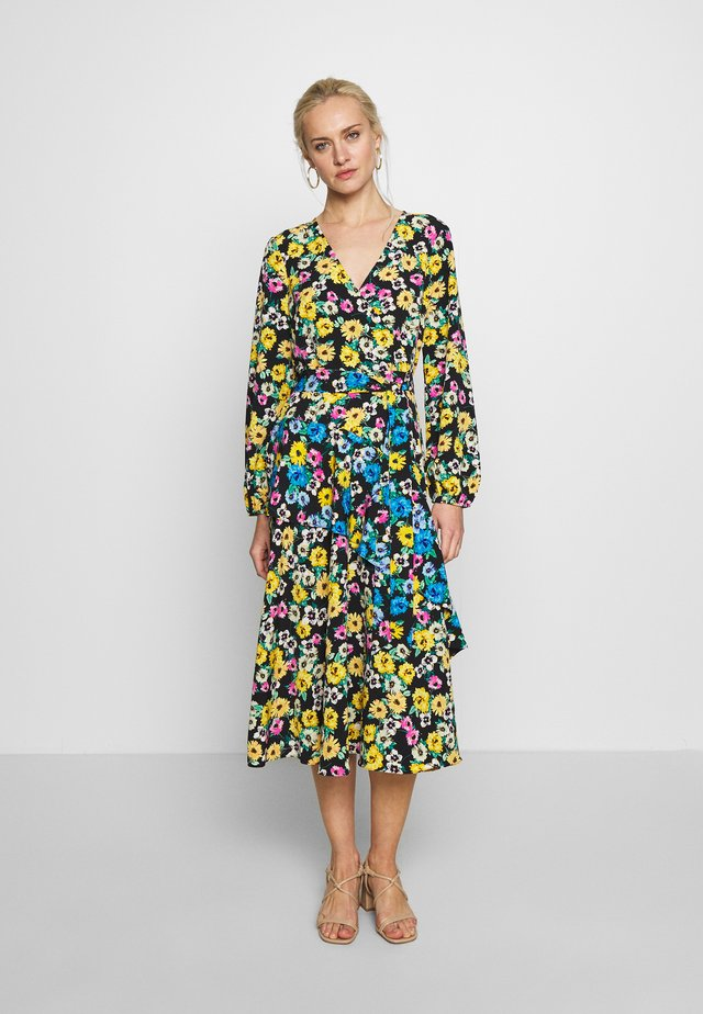 SUNFLOWER TIER WRAP DRESS - Sukienka letnia - black