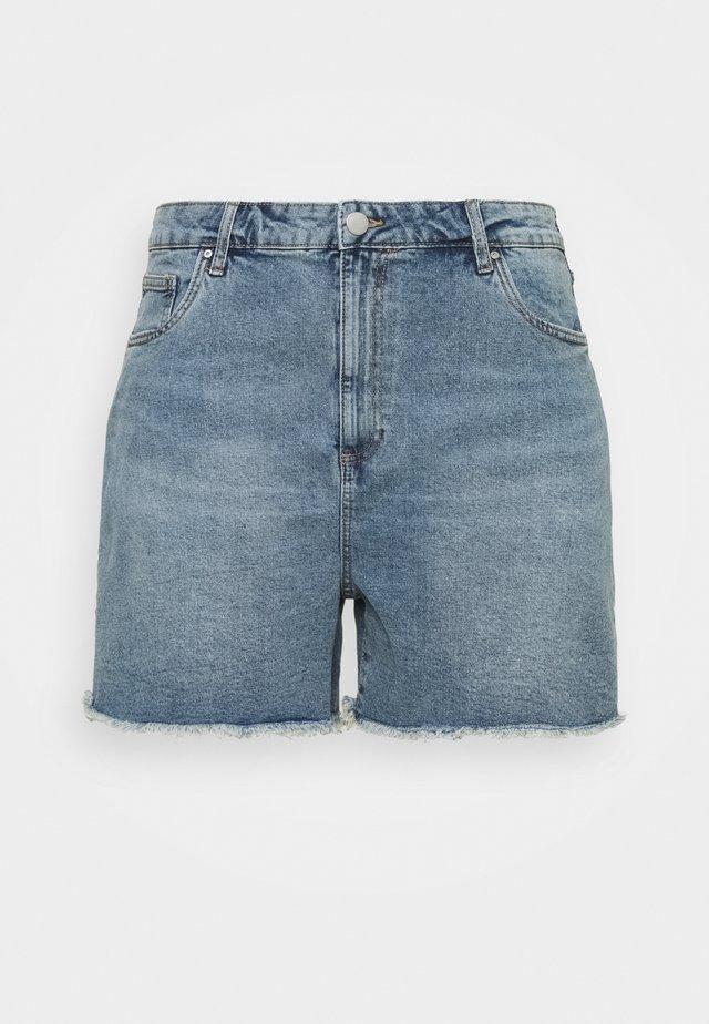 HIGH WAISTED - Shorts di jeans - brunswick blue